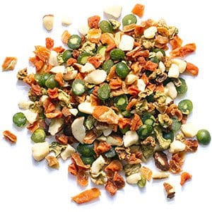 Bird Treats with Almonds, Carrots, Soybeans and Peas for Cockatiels, Quakers, Lovebirds and Small Conures
