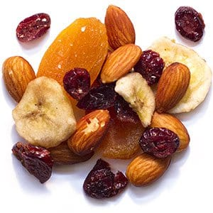 Bird Treats with Apricots, Cranberries, Almonds and Bananas for Amazons and African Greys