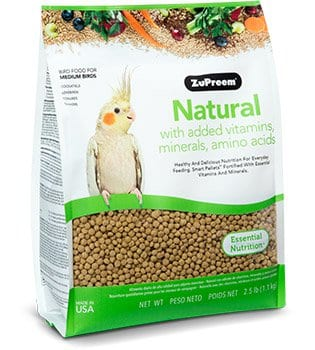 Pellet Bird Food with added Vitamins for Cockatiels, Quakers, Lovebirds, Small Conures