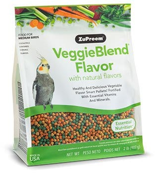 Pellet Bird Food with Vegetable Flavors for Cockatiels, Small Conures, Lovebirds and Quakers